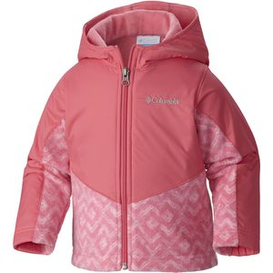 Steens Mountain Overlay Hooded Fleece Jacket - Toddler Girls' Camellia Rose Zigzag, 4T - Like New