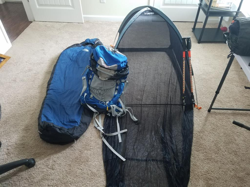 Youth Camping Gear; Bug hut, Osprey pack, Slping bag and trking poles