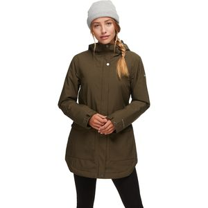 Here And There Insulated Trench Jacket - Women's Olive Green Lattice Emboss, M - Excellent