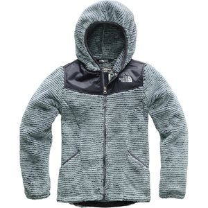 Oso Hooded Fleece Jacket - Girls' Mid Grey/Periscope Grey Stripe, M - Excellent