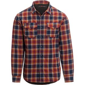 Sawtooth Sherpa Lined Shirt Jacket - Men's Orange Plaid, M - Excellent