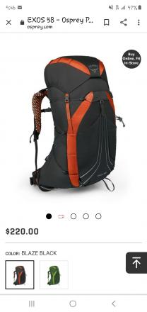 Osperey exos 58 backpacking pack