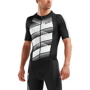 Compression Sleeved Tri Top - Men's Black/Black White Lines, M - Good