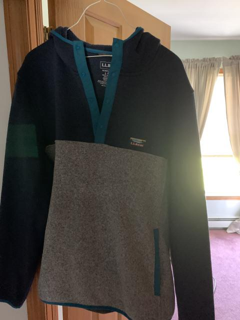 LL Bean Sweater Fleece Hooded Pullover - Large