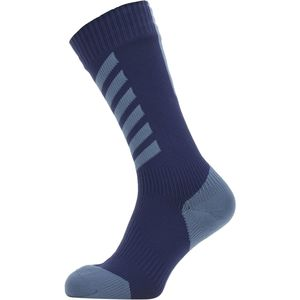 Waterproof Cold Weather Mid-Length Hydrostop Sock Navy Blue/Red,L - Good