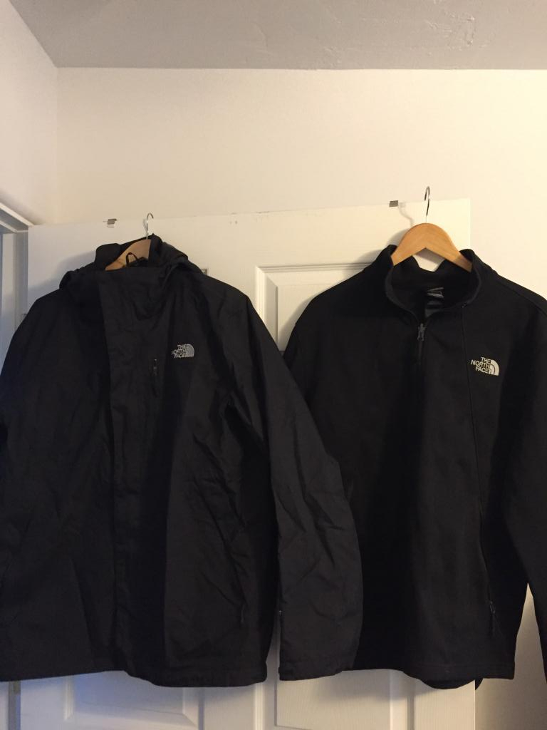 Men's Black North Face 3 in 1 Jacket - L