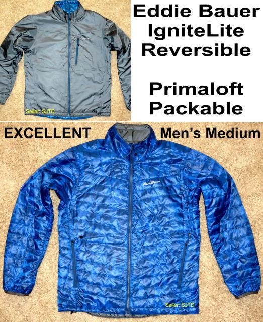 Eddie Bauer IgniteLite Reversible Primaloft Packable Jacket Men Medium