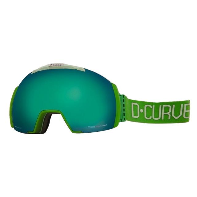 DCURVE Nuptse133 Matte Green with Light Green Snow Goggles