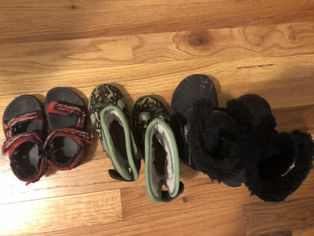 Boy's Shoes - Tevas Sandals sz 5, Bogs boots sz 6, Sorel Boots sz 7