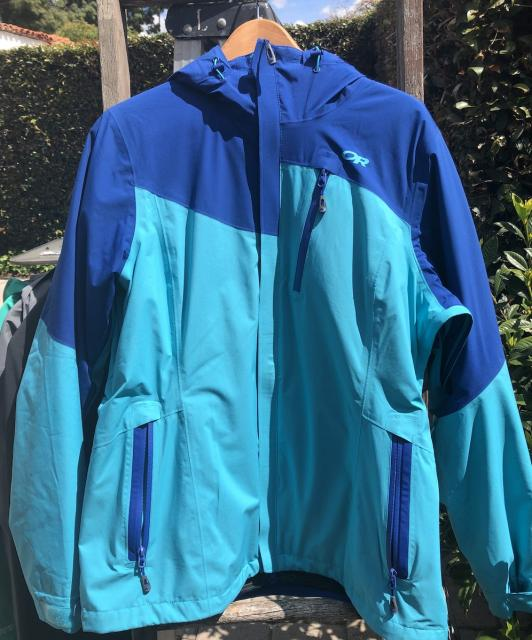 Outdoor Research Offchute Ski Jacket, Women's XL, Baltic/Typhoon