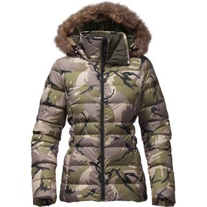 Gotham II Hooded Down Jacket - Women's Burnt Olive Green Disrupt Camo, XL - Excellent