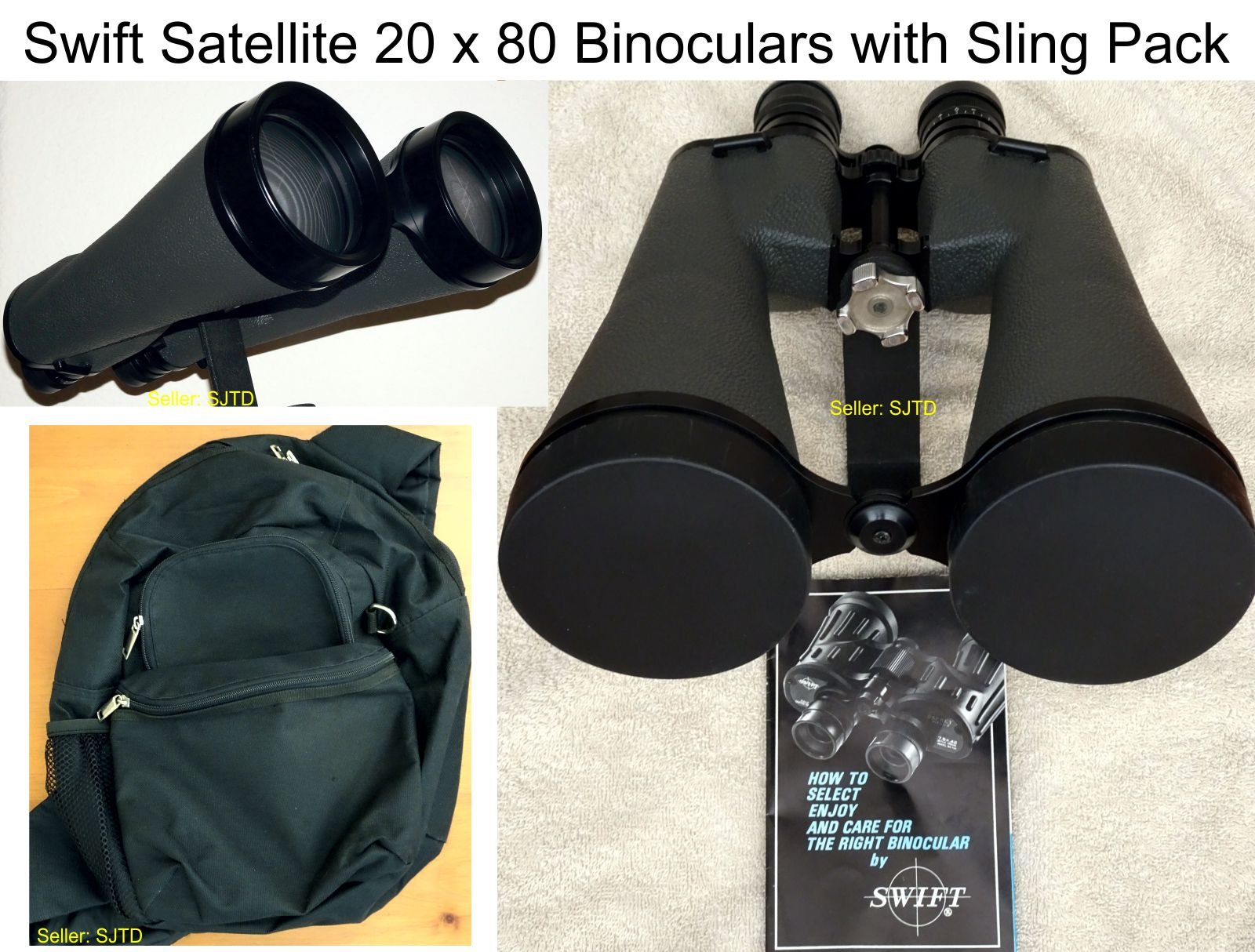 Swift Satellite 20 x 80 Binoculars with Sling Pack - EXCELLENT!