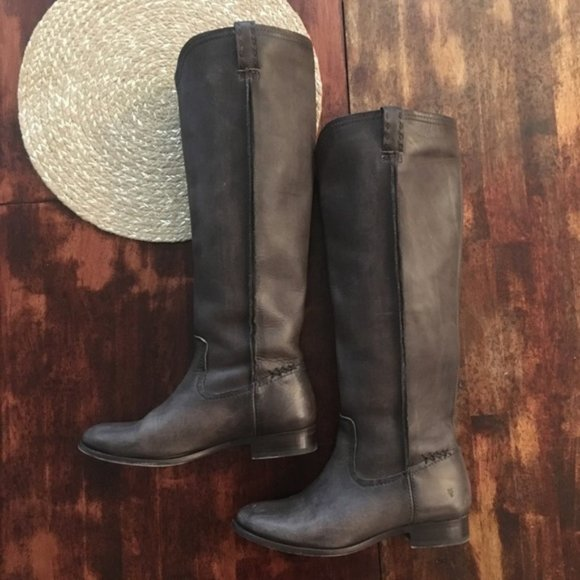 FRYE Cara Tall Leather Riding Boot Extended Calf