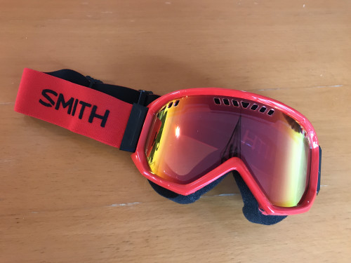Smith red semi-mirrored goggles