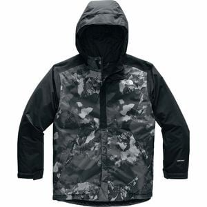 Brayden Hooded Insulated Jacket - Boys' Tnf Black Mtn Scape Print, S - Excellent