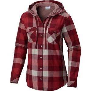 Times Two Hooded Shirt - Women's Rich Wine Big Check, XL - Excellent