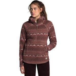 Crescent Printed Hooded Fleece Pullover - Women's Marron Purple Landscape Knit Print, XXL - Excellent