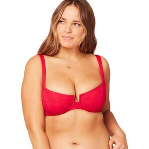 Camellia Bikini Top - Women's Lipstick Red, D - Excellent