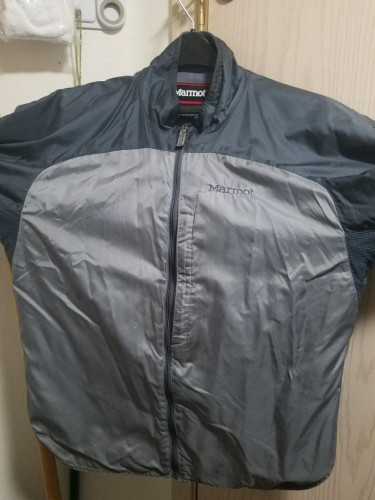 Marmot Men's Sz Med Full Zip Packable Nylon Gray Two Tone Windbreaker