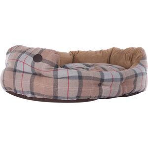Luxury Dog Bed Taupe/Pink Tartan, 30in - Good
