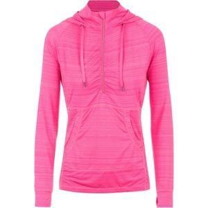 Shadow Stripe Kangaroo Pocket Pullover Hoodie - Women's Bright Pink, S - Excellent