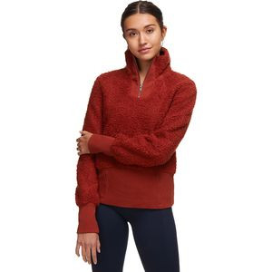 Cozy Teddy Sherpa 1/4-Zip Pullover - Women's Picante Orange, S - Excellent