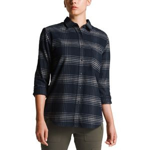 Boyfriend Long-Sleeve Shirt - Women's Urban Navy Large Tartan Plaid,M - Excellent