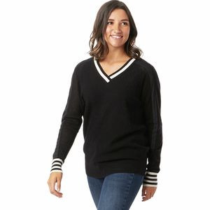 Frosted Valley V-Neck Sweater - Women's Black, M - Excellent