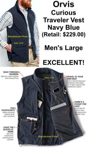 Orvis Curious Traveler Vest 15 Pocket Men's Large Blue $229 - EUC !