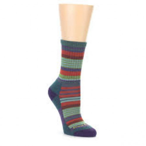 Darn Tough- Teal Stripe Micro Crew Socks- Women Size L