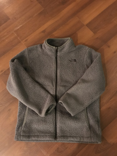 Gray kids size Large North Face Fuzzy Jacket