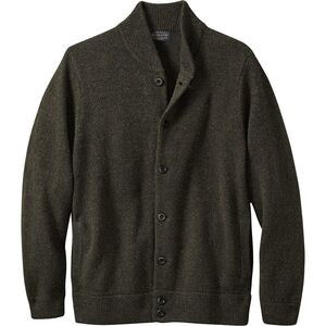 Shetland Cardigan Sweater - Men's Dark Army Green, M - Like New