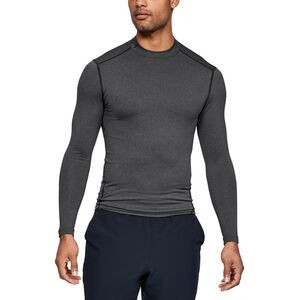 ColdGear Armour Compression Mock-Neck Shirt - Men's Carbon Heather/Black, L - Excellent