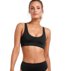 Sienna Tank Bikini Top - Women's Black EcoRib, L - Good