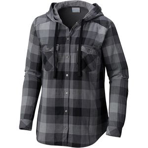 Times Two Hooded Shirt - Women's Black Big Check, M - Excellent