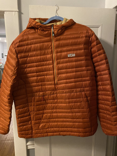 Stio Men's Pinion Down Pullover Hooded Jacket XL Cliff Clay