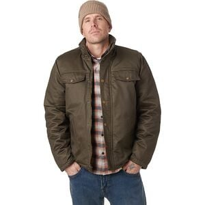 Coated Cotton Sherpa-Lined Jacket - Men's Dark Green, L - Good