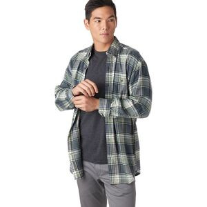 Button-Down Cotton Yarn Dye Flannel Shirt - Men's Charcoal, M - Like New