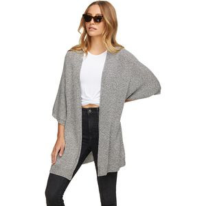 Marled Lightweight Sweater Cardigan - Women's Heather Gray, L - Good