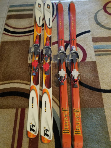 2 Telemark setups, 7tm bindings and a fat and all mtn ski