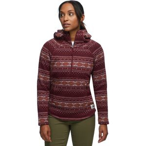 Printed Crescent Pullover Hoodie - Women's Deep Garnet Red Fair Isle Print,XS - Excellent