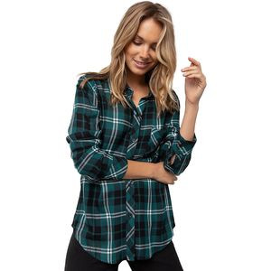 Hunter Pine/Black/White Long-Sleeve Button Up - Women's Pine/Black/White, S - Excellent
