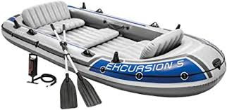 Intex Excursion 5, 5-Person Inflatable Boat Set with Aluminum Oa