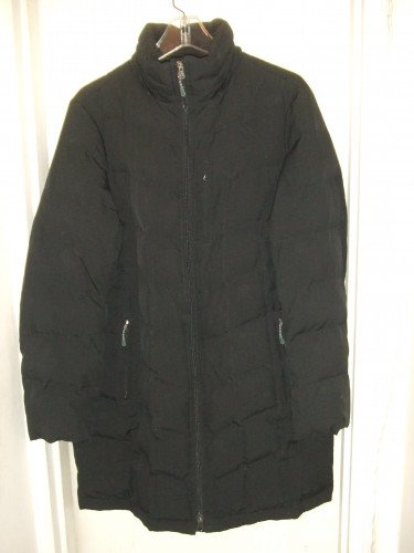 LAND'S END Women's Black Down Parka with removable hood  Sz  M/L