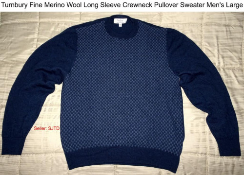 Fine MERINO Wool Long Sleeve Crewneck Pullover  Sweater