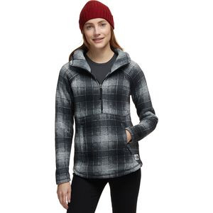 Printed Crescent Pullover Hoodie - Women's High Rise Grey Ombre Plaid Small Print,XS - Excellent
