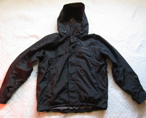 Marmot Black Technical Waterproof Zip Shell with Hood Medium