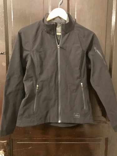 Black REI soft-shell full-zip jacket