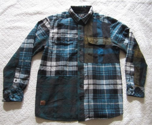Kavu Blue Plaid Flannel 100% Cotton Button Down Shirt Sz XL 46""