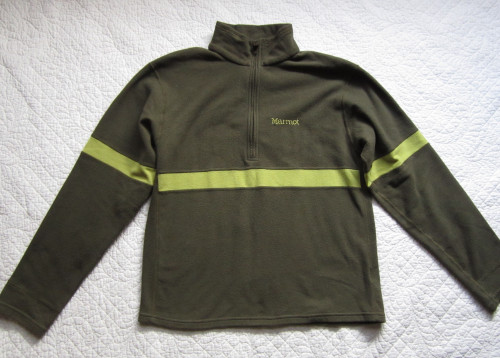 "Marmot Green Striped 11"" Zip Shirt Base Layer Small"